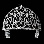 Royal Sweet 16 Silver Headpiece Covered in Clear Rhinestones 251