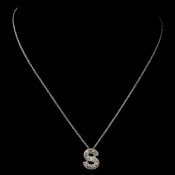 """S""  Clear Rhinestone Letter Initial Pendant Necklace 1"