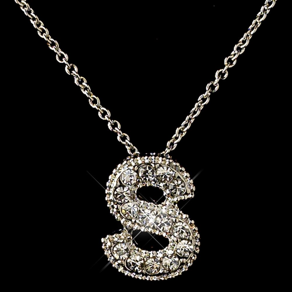quot s quot clear rhinestone letter initial pendant necklace 1