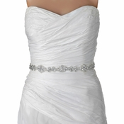 Sheer Diamond White Rhinestone Beaded Bridal Sheer Applique ( No Belt)