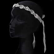 Sheer Ivory Ribbon Flexible Headband with Rhinestones 3478