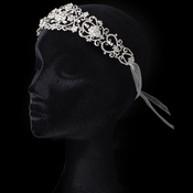 Sheer Ivory Ribbon Flower Heart Headband with Rhinestones 3458