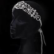 Sheer Ivory Ribbon Heart Headband with Rhinestones 3460