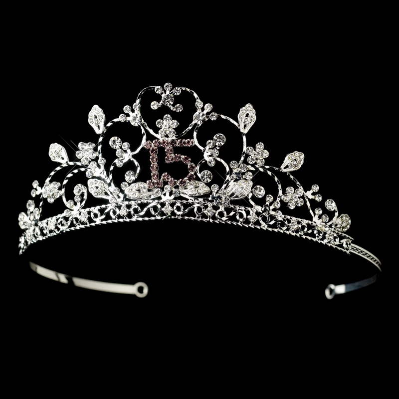 Sparkling Sweet 15 Quinceaera Rhinestone Tiara With A