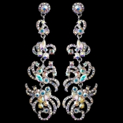 Silver AB Rhinestone Dangle Earrings 9890