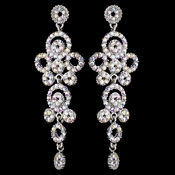 Silver AB Rhinestone Round Circle Dangle Earrings 9892