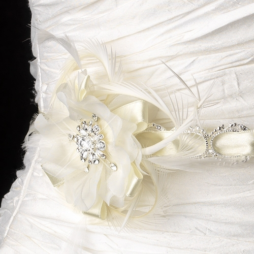 * Silver Accented White Ribbon Belt or Headband 8531 with Feathers