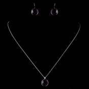 Silver Amethyst Round Swarovski Element Crystal Jewelry Set 9600