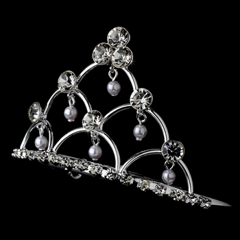 * Silver and Pearl Flower Girl's Tiara Comb HPC 500