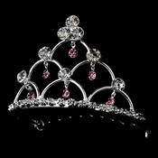 * Silver and Pink Child's Tiara Comb HPC 500