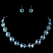 Silver Aqua Round Swarovski Element Crystal Necklace 9607 & Earrings 9600 Jewelry Set