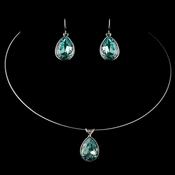 Silver Aqua Teardrop Swarovski Element Crystal Jewelry Set 9604