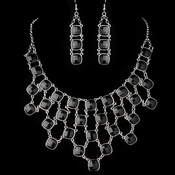 Silver  Black Acrylic Stone Fashion Jewelry Set 9502