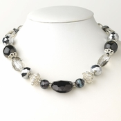 Silver Black & Hematite Faceted Cut Glass Fashion Necklace 9519