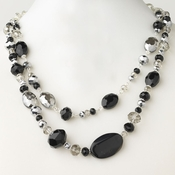 Silver Black & Hematite Faceted Glass Crystal Fashion Necklace 9525