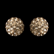 Silver Champagne Pave Ball Encrusted Earrings 40721