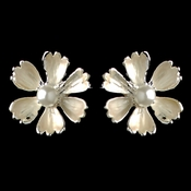 Silver Champagne Pearl Flower Stud Earrings 4838
