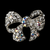 Silver Clear AB Rhinestone Bow Brooch Pin 51