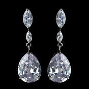 Silver Clear CZ Crystal Marquise & Teardrop Earrings 40261