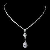 Silver Clear CZ Crystal Double Tear Drop Necklace 8749