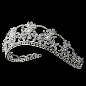 Silver Clear, Light Blue & Amethyst Mix Rhinestone & Swarovski Crystal Tiara