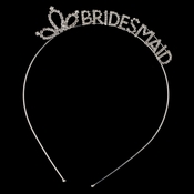"Silver Clear Rhinestone ""Bridesmaid"" Tiara Headband 361"