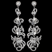 Silver Clear Rhinestone Dangle Earrings 9890