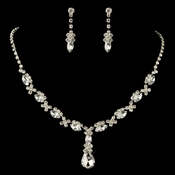 Silver Clear Rhinestone Drop  Jewelry Set 47209