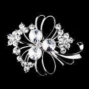 * Silver Clear Rhinestone Floral Bouquet Brooch 158 ***5 Left***