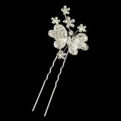 Silver Clear Rhinestone Floral Butterfly Pin 1121