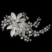 Silver Clear Rhinestone Floral Vine Leaves Clip 378