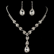 Silver Clear Rhinestone Flower Drop Jewelry Set 4098