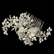 Silver Clear Rhinestone & Freshwater Pearl Bow Hair Comb 20