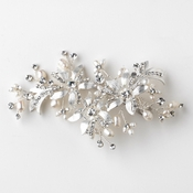 Silver Clear Rhinestone & Freshwater Pearl Floral Hair Clip 109