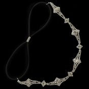 Silver Clear Rhinestone Hair Black Elastic Headband