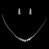Silver Clear Rhinestone Necklace & Earrings Jewelry Set 72074