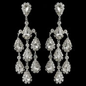 Silver Clear Rhinestone Teardrop Chandelier Earrings