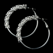 Silver Clear Rhinestone Twisted Hoop Earrings