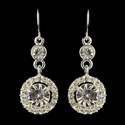 Silver Clear Round Rhinestone Dangle Earrings 4096 ***Discontinued***