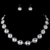 Silver Clear Round Swarovski Element Crystal Necklace 9607 & Earrings 9603 Jewelry Set