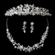 Silver Clear Swarovski Crystal Bead & Rhinestone Headpiece 7027 & Jewelry Set 7600