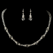 Silver Clear Swarovski Crystal Bead & Rondelle Jewelry Set