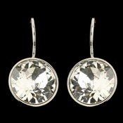Silver Clear Swarovski Crystal Element Round Leverback Earrings 9600