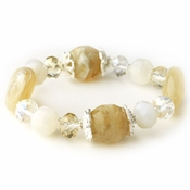 Silver Cream & Light Topaz Faceted Glass Stretch Bracelet 9508