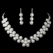 Silver Diamond White Pearl & Rhinestone Floral Jewelry Set