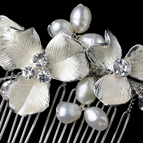 Freshwater Pearl & Rhinestone Floral Hair Comb 120 (Silver or Gold Accent)