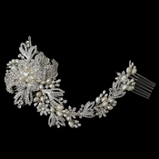 Silver Freshwater Pearl & Rhinestone Floral Vine Side Comb
