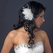Silver Ivory Feather Clip w/ Freshwater Pearl & Crystal 3578