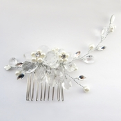 Silver Ivory Pearl & Rhinestone Comb 4710