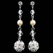 Silver Ivory Pearl & Rhinestone Dangle Ball Earrings 9716